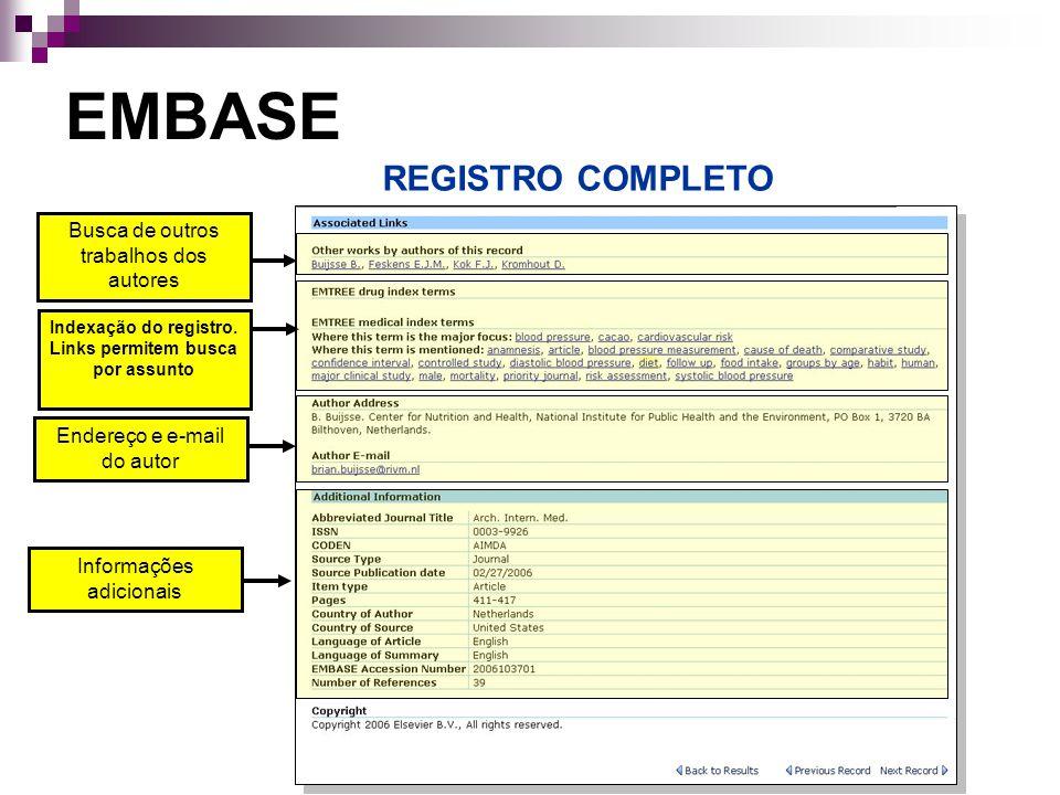 Busca de outros trabalhos dos autores Indexação do registro.