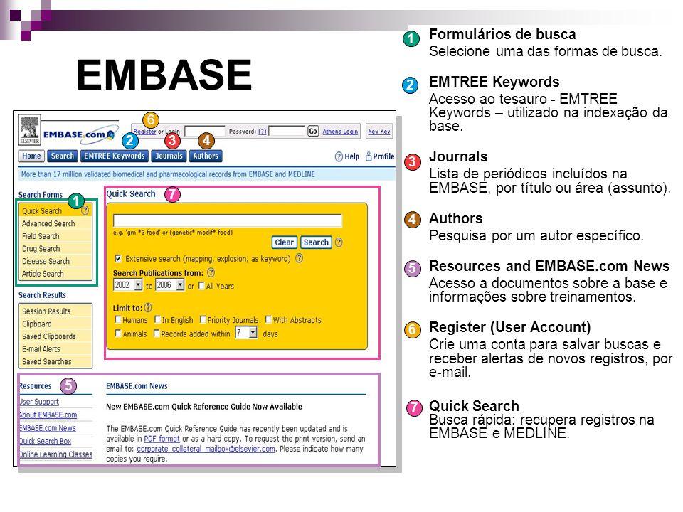Quick Search Digite palavra, assunto ou termo de busca em INGLÊS e clique em Search Extensive Search pesquisa automaticamente o termo no tesauro e em busca livre.