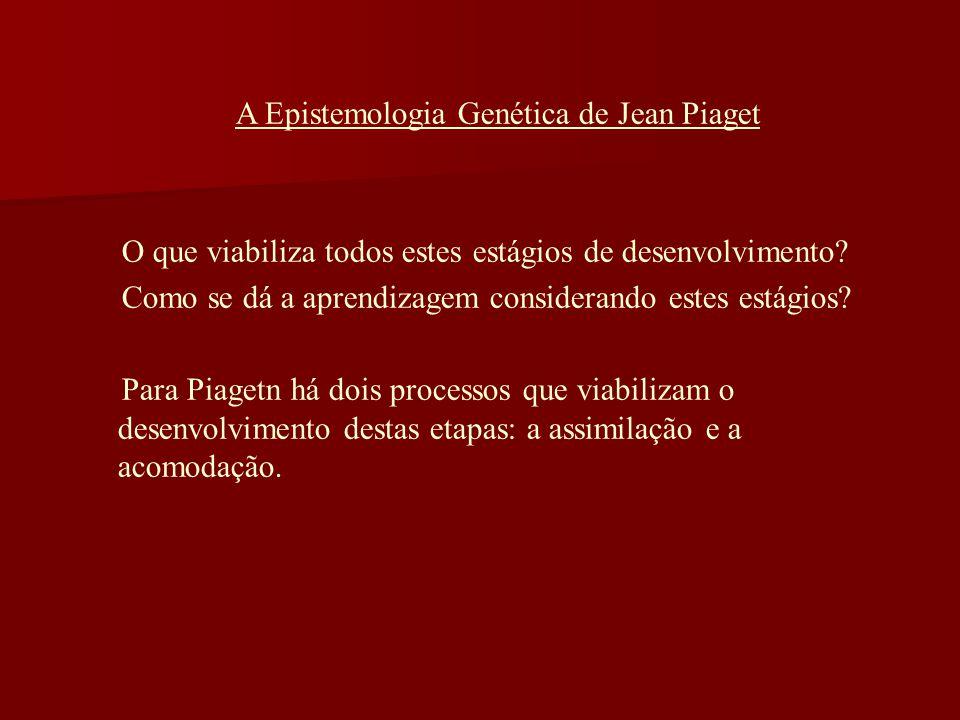 A Epistemologia Genética de Jean Piaget O que viabiliza todos estes estágios de desenvolvimento? Como se dá a aprendizagem considerando estes estágios