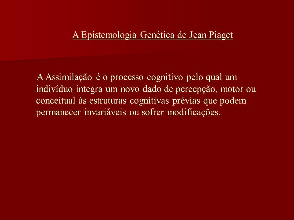 A Epistemologia Genética de Jean Piaget A Assimilação é o processo cognitivo pelo qual um indivíduo integra um novo dado de percepção, motor ou concei