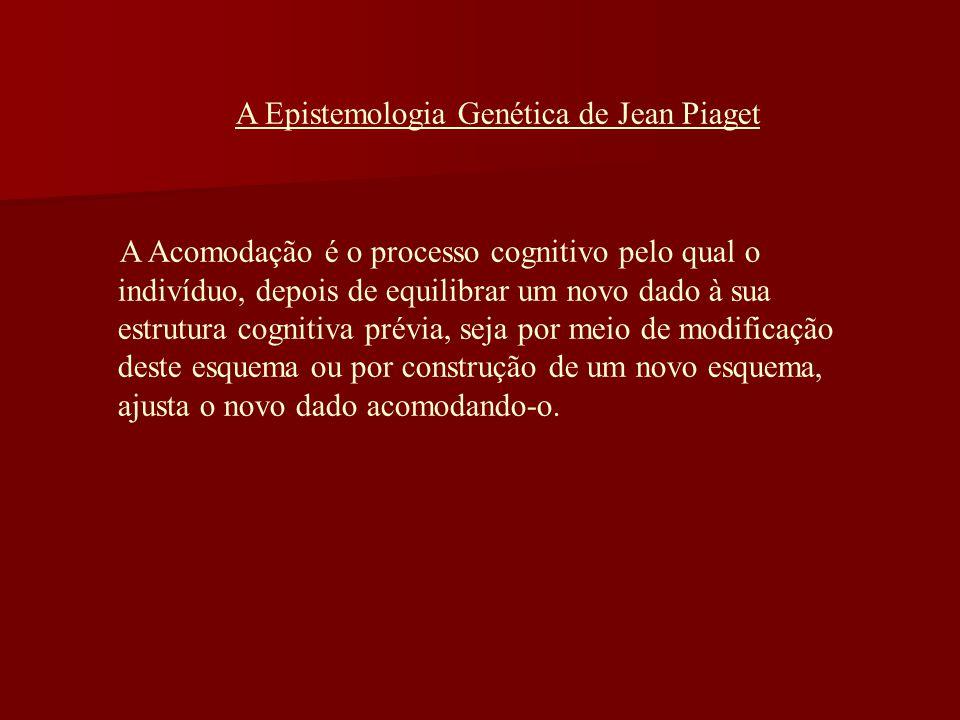 A Epistemologia Genética de Jean Piaget A Acomodação é o processo cognitivo pelo qual o indivíduo, depois de equilibrar um novo dado à sua estrutura c