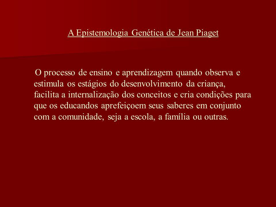 A Epistemologia Genética de Jean Piaget O processo de ensino e aprendizagem quando observa e estimula os estágios do desenvolvimento da criança, facil