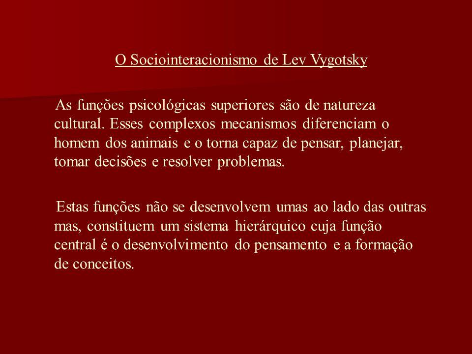 O Sociointeracionismo de Lev Vygotsky As funções psicológicas superiores são de natureza cultural. Esses complexos mecanismos diferenciam o homem dos