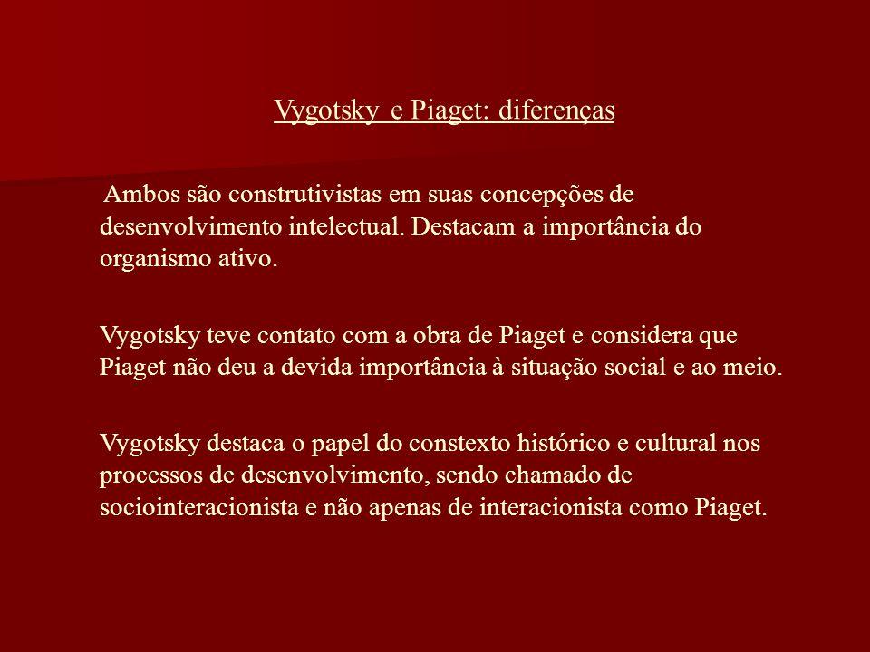 Vygotsky e Piaget: diferenças Ambos são construtivistas em suas concepções de desenvolvimento intelectual. Destacam a importância do organismo ativo.