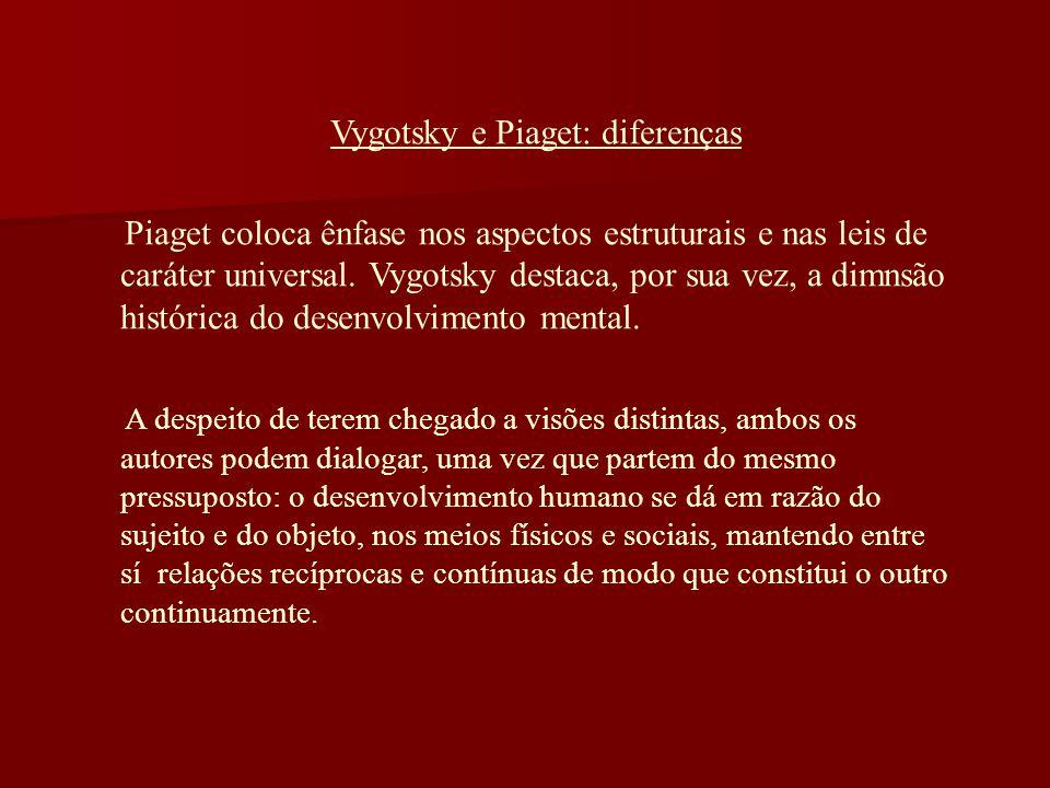 Vygotsky e Piaget: diferenças Piaget coloca ênfase nos aspectos estruturais e nas leis de caráter universal. Vygotsky destaca, por sua vez, a dimnsão