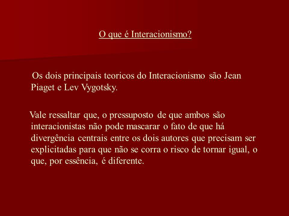O que é Interacionismo? Os dois principais teoricos do Interacionismo são Jean Piaget e Lev Vygotsky. Vale ressaltar que, o pressuposto de que ambos s