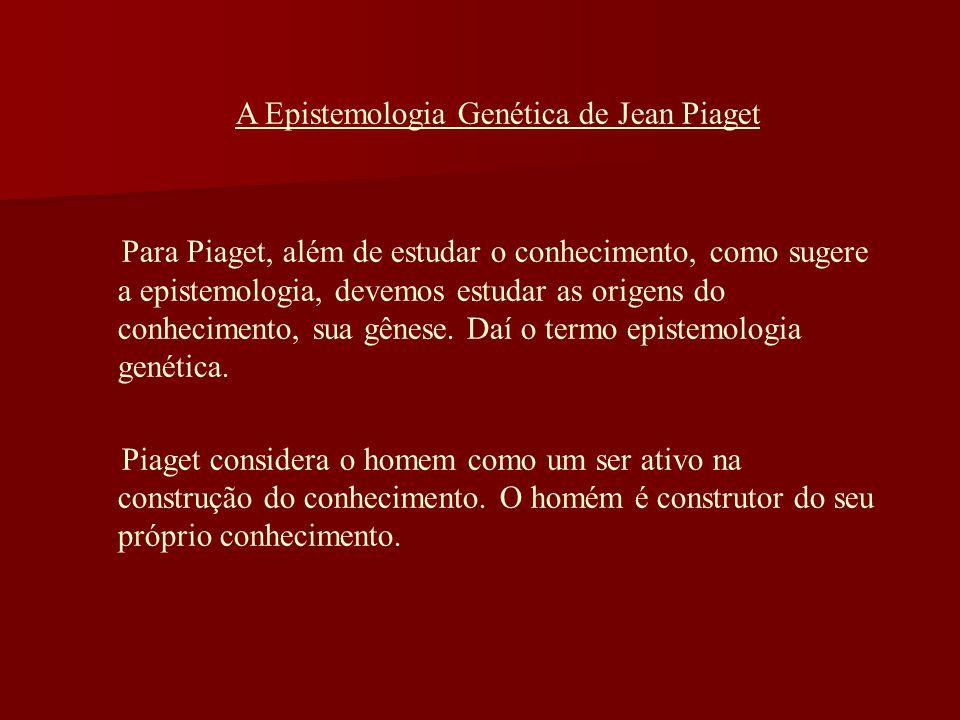A Epistemologia Genética de Jean Piaget Para Piaget, além de estudar o conhecimento, como sugere a epistemologia, devemos estudar as origens do conhec