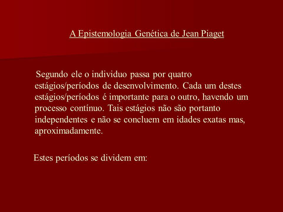 A Epistemologia Genética de Jean Piaget Segundo ele o individuo passa por quatro estágios/períodos de desenvolvimento. Cada um destes estágios/período