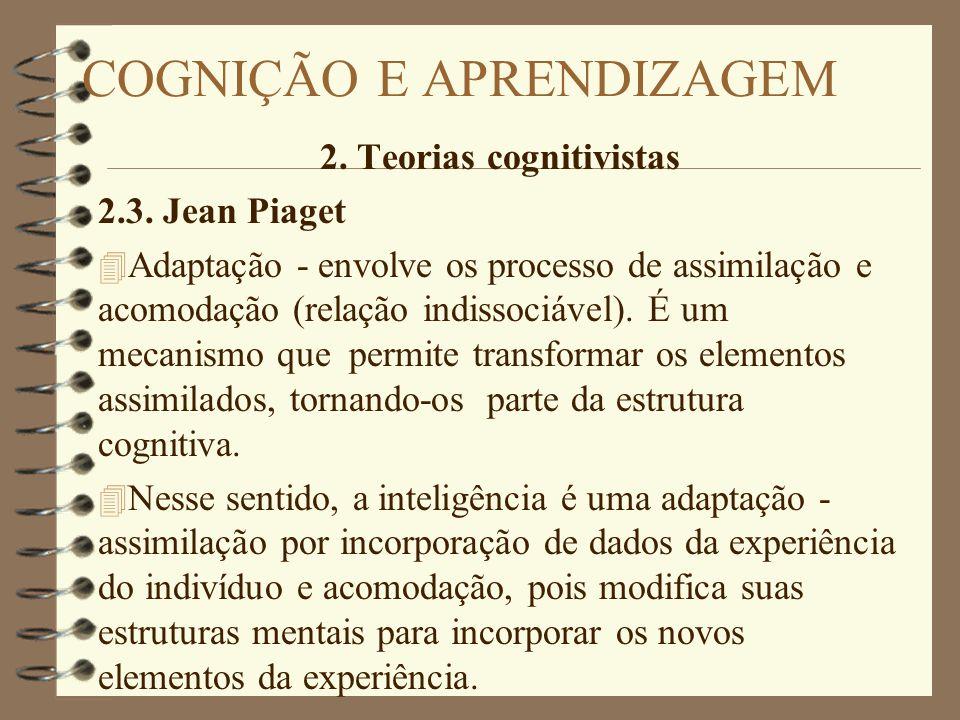 2. Teorias cognitivistas 2.3. Jean Piaget 4 Adaptação - envolve os processo de assimilação e acomodação (relação indissociável). É um mecanismo que pe