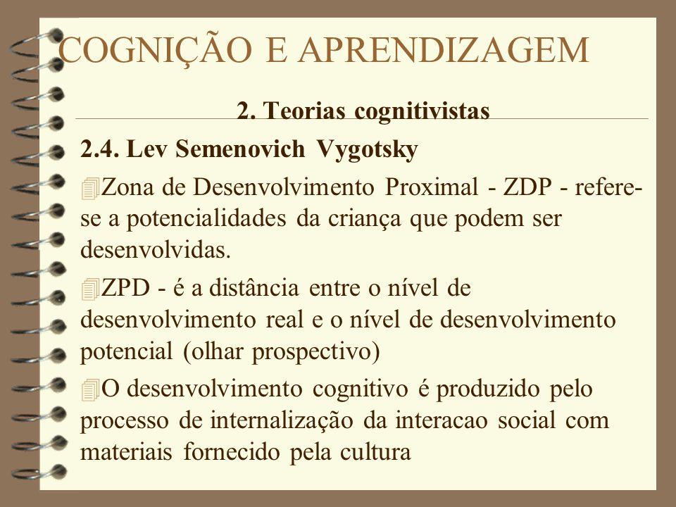 2. Teorias cognitivistas 2.4. Lev Semenovich Vygotsky 4 Zona de Desenvolvimento Proximal - ZDP - refere- se a potencialidades da criança que podem ser