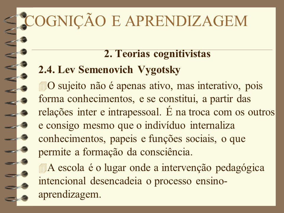 2. Teorias cognitivistas 2.4. Lev Semenovich Vygotsky 4 O sujeito não é apenas ativo, mas interativo, pois forma conhecimentos, e se constitui, a part