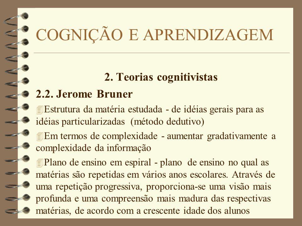2. Teorias cognitivistas 2.2. Jerome Bruner 4 Estrutura da matéria estudada - de idéias gerais para as idéias particularizadas (método dedutivo) 4 Em