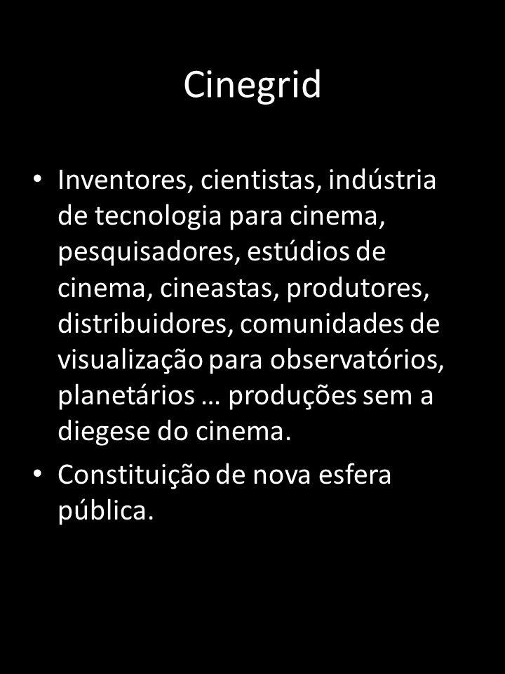 Cinegrid Inventores, cientistas, indústria de tecnologia para cinema, pesquisadores, estúdios de cinema, cineastas, produtores, distribuidores, comunidades de visualização para observatórios, planetários … produções sem a diegese do cinema.