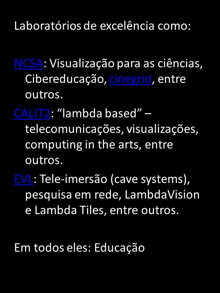 Laboratórios de excelência como: NCSANCSA: Visualização para as ciências, Cibereducação, cinegrid, entre outros.cinegrid CALIT2CALIT2: lambda based – telecomunicações, visualizações, computing in the arts, entre outros.