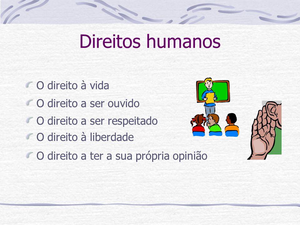 O direito a um emprego e a um ordenado O direito à educação e à informação O direito de poder escolher onde gastar o nosso dinheiro O direito a uma habitação Direitos Humanos