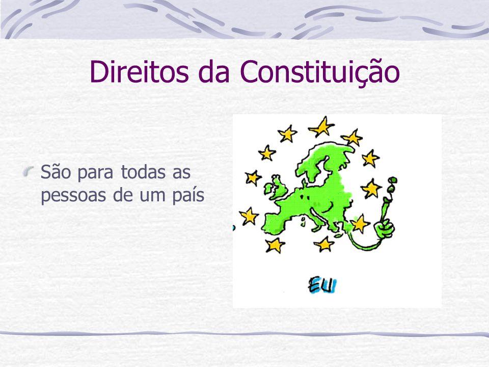 Direitos da Constituição Estão protegidos pelas leis que cada governo faz em cada país