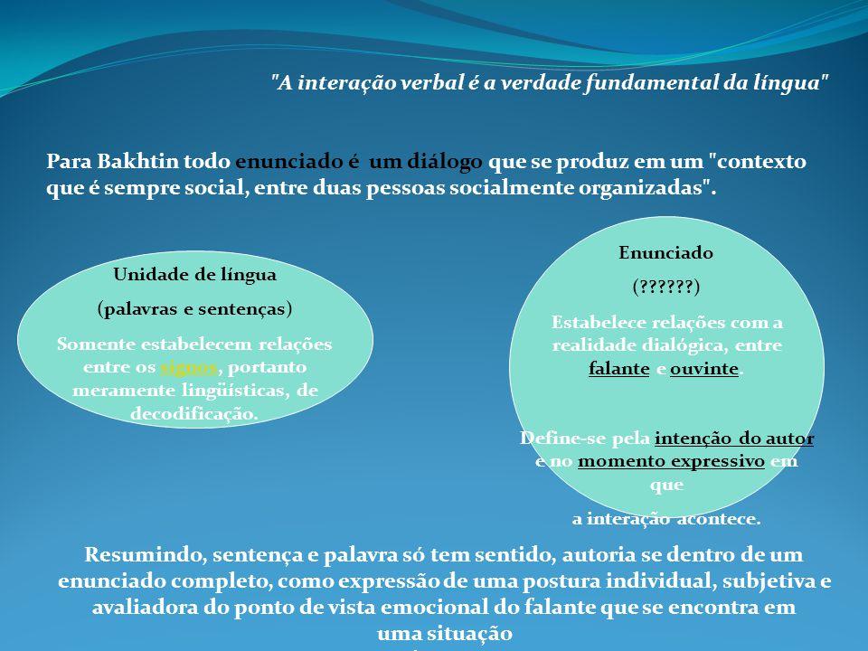 Unidade de língua (palavras e sentenças) Somente estabelecem relações entre os signos, portanto meramente lingüísticas, de decodificação.signos Enunci