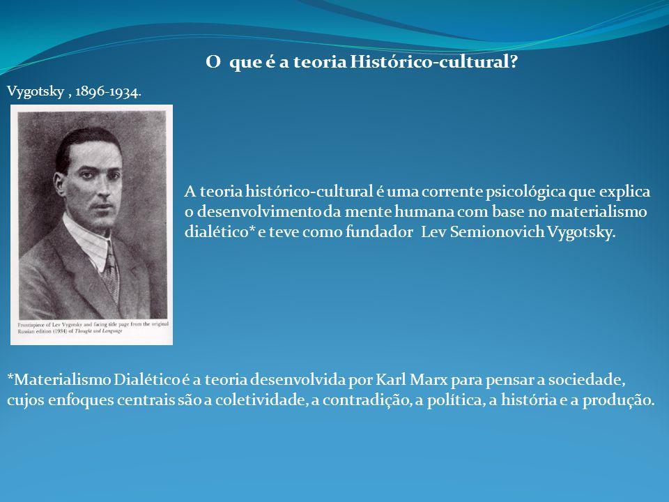O que é a teoria Histórico-cultural? Vygotsky, 1896-1934. A teoria histórico-cultural é uma corrente psicológica que explica o desenvolvimento da ment