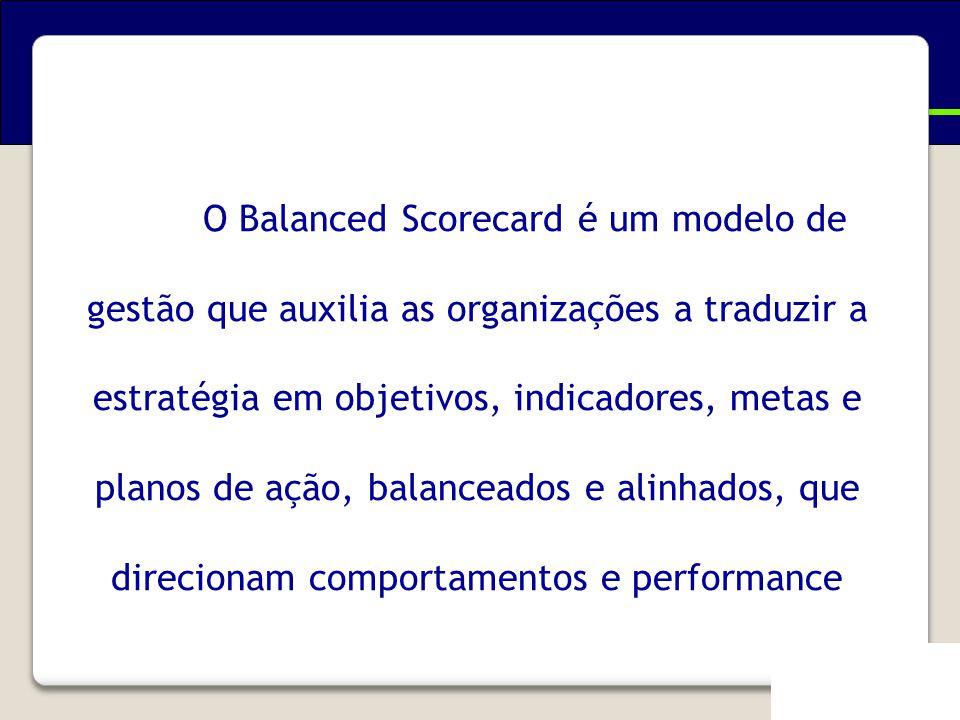 Em resumo... O Balanced Scorecard é um modelo de gestão que auxilia as organizações a traduzir a estratégia em objetivos, indicadores, metas e planos