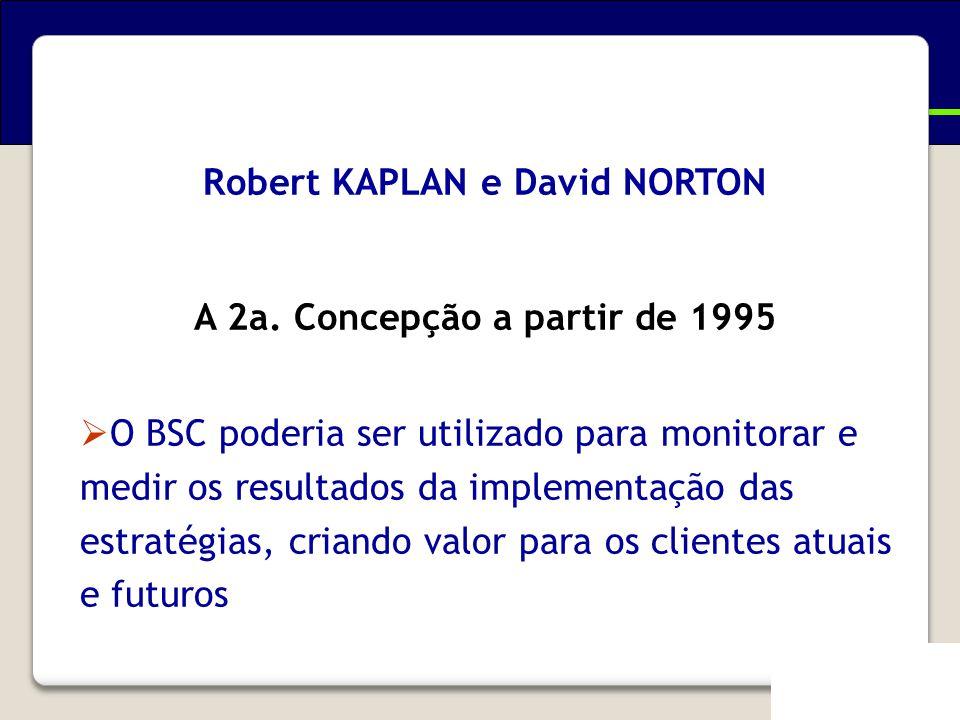 Robert KAPLAN e David NORTON A 2a. Concepção a partir de 1995  O BSC poderia ser utilizado para monitorar e medir os resultados da implementação das