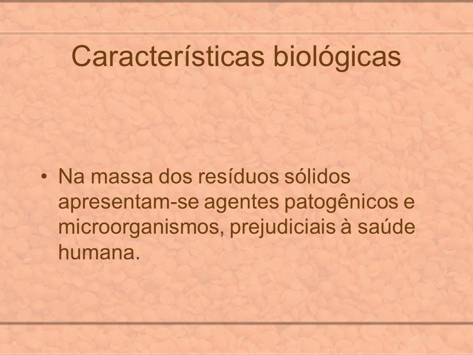 Características biológicas Na massa dos resíduos sólidos apresentam-se agentes patogênicos e microorganismos, prejudiciais à saúde humana.