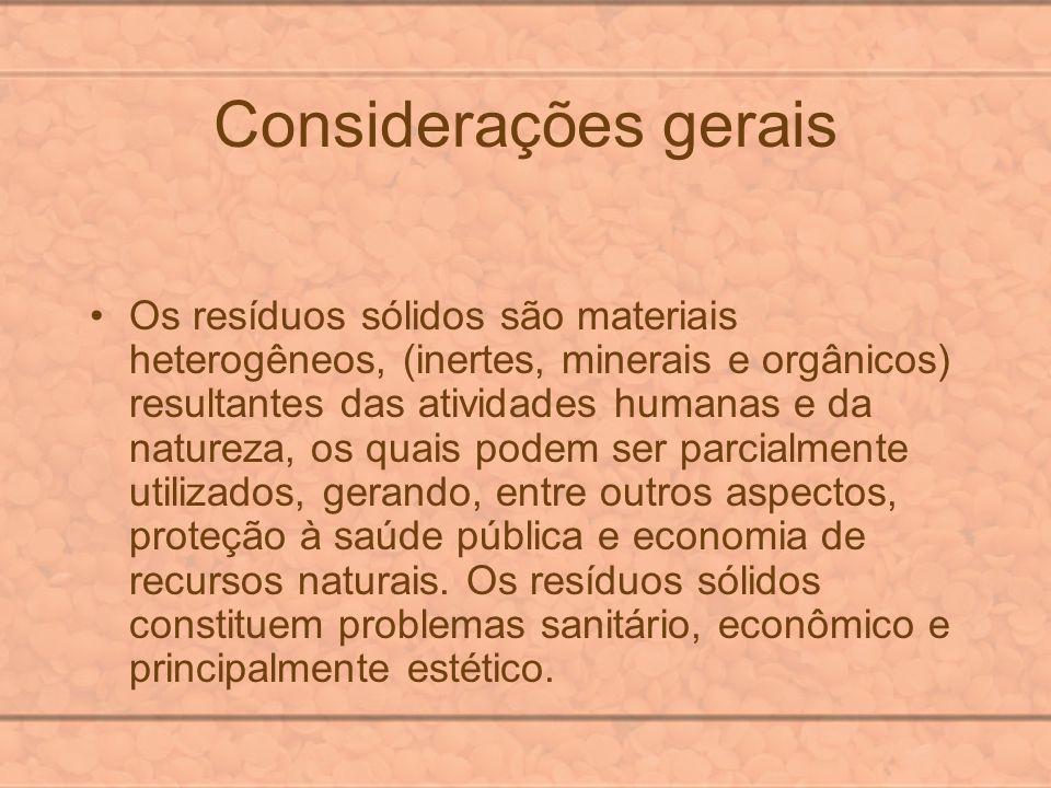 Considerações gerais Os resíduos sólidos são materiais heterogêneos, (inertes, minerais e orgânicos) resultantes das atividades humanas e da natureza,