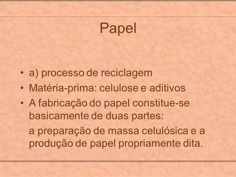 Papel a) processo de reciclagem Matéria-prima: celulose e aditivos A fabricação do papel constitue-se basicamente de duas partes: a preparação de mass