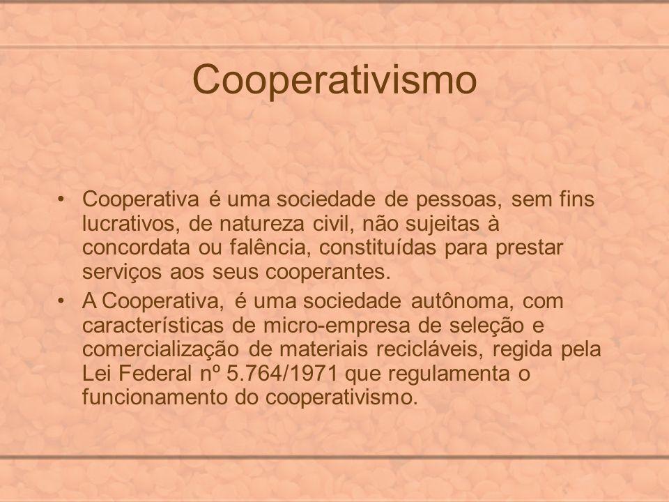 Cooperativismo Cooperativa é uma sociedade de pessoas, sem fins lucrativos, de natureza civil, não sujeitas à concordata ou falência, constituídas par