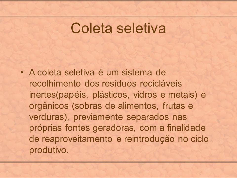 Coleta seletiva A coleta seletiva é um sistema de recolhimento dos resíduos recicláveis inertes(papéis, plásticos, vidros e metais) e orgânicos (sobra