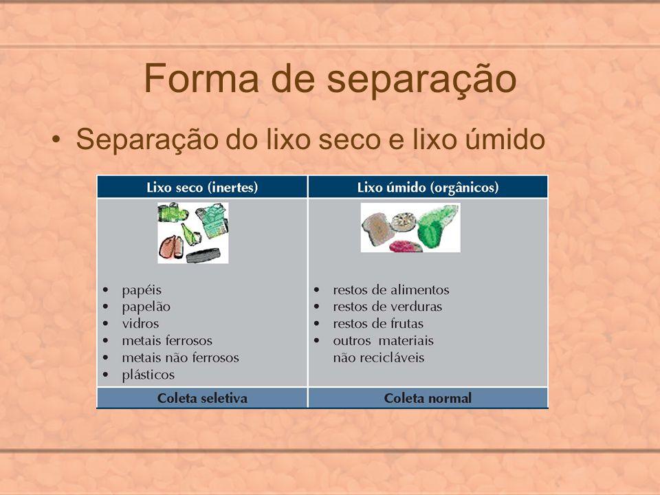 Forma de separação Separação do lixo seco e lixo úmido