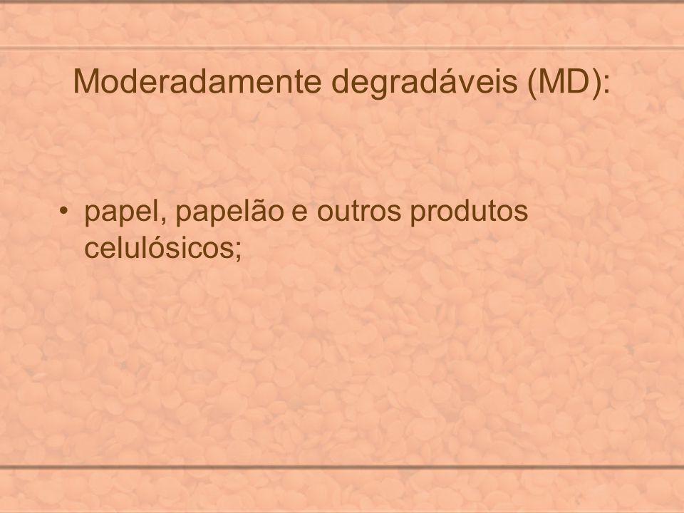 Moderadamente degradáveis (MD): papel, papelão e outros produtos celulósicos;