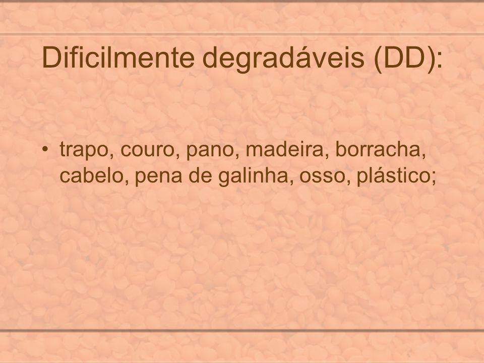 Dificilmente degradáveis (DD): trapo, couro, pano, madeira, borracha, cabelo, pena de galinha, osso, plástico;