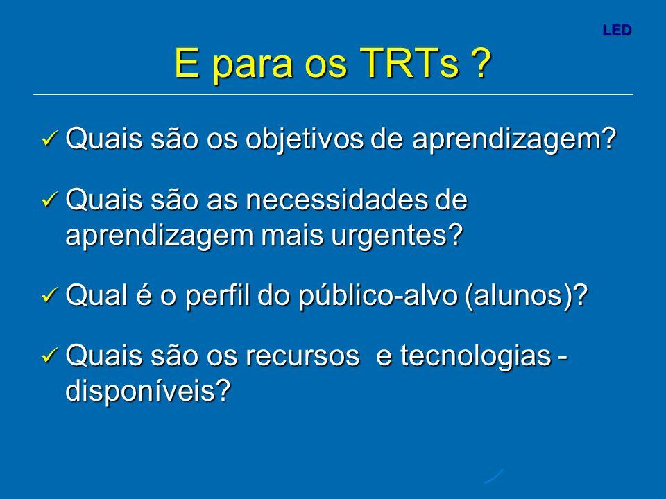 LED E para os TRTs .Quais são os objetivos de aprendizagem.