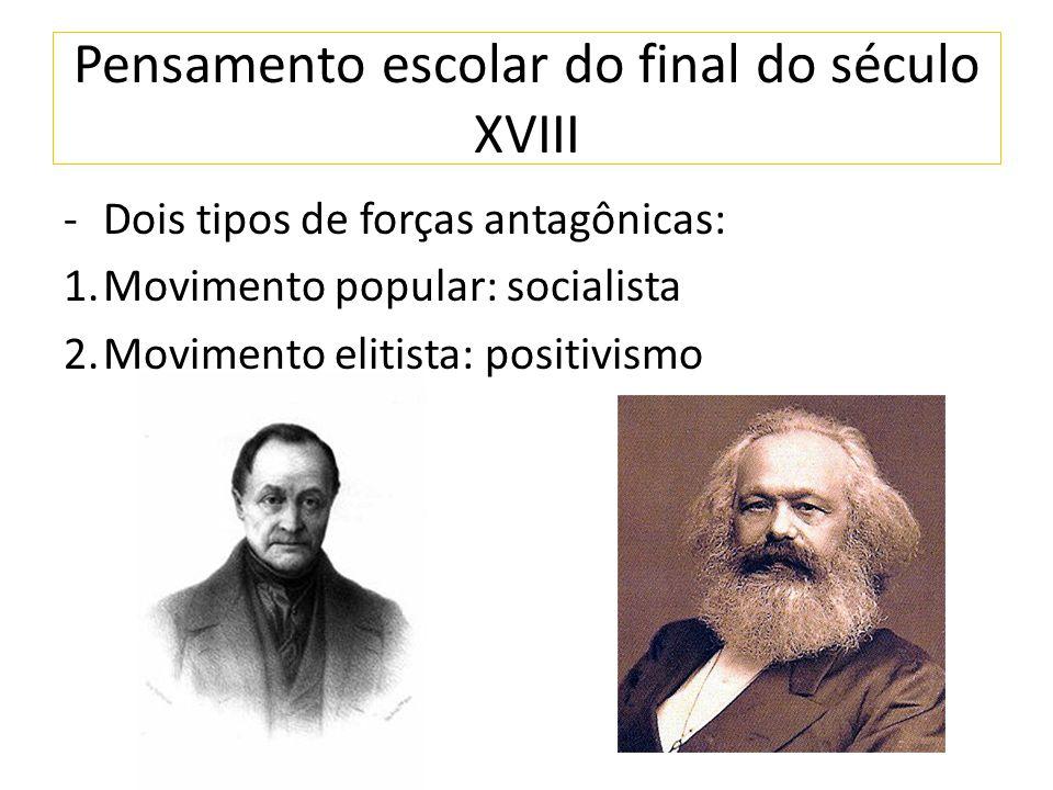 Pensamento escolar do final do século XVIII -Dois tipos de forças antagônicas: 1.Movimento popular: socialista 2.Movimento elitista: positivismo
