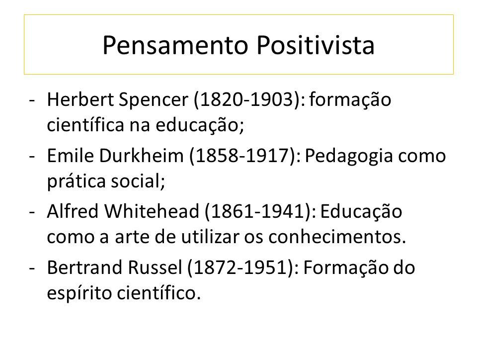 Pensamento Positivista -Herbert Spencer (1820-1903): formação científica na educação; -Emile Durkheim (1858-1917): Pedagogia como prática social; -Alf