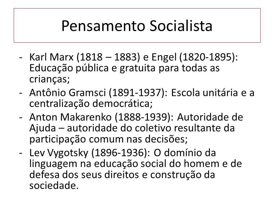 Pensamento Socialista -Karl Marx (1818 – 1883) e Engel (1820-1895): Educação pública e gratuita para todas as crianças; -Antônio Gramsci (1891-1937):