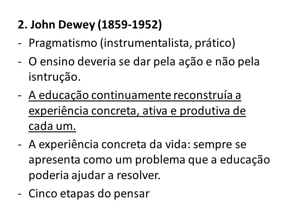 2. John Dewey (1859-1952) -Pragmatismo (instrumentalista, prático) -O ensino deveria se dar pela ação e não pela isntrução. -A educação continuamente