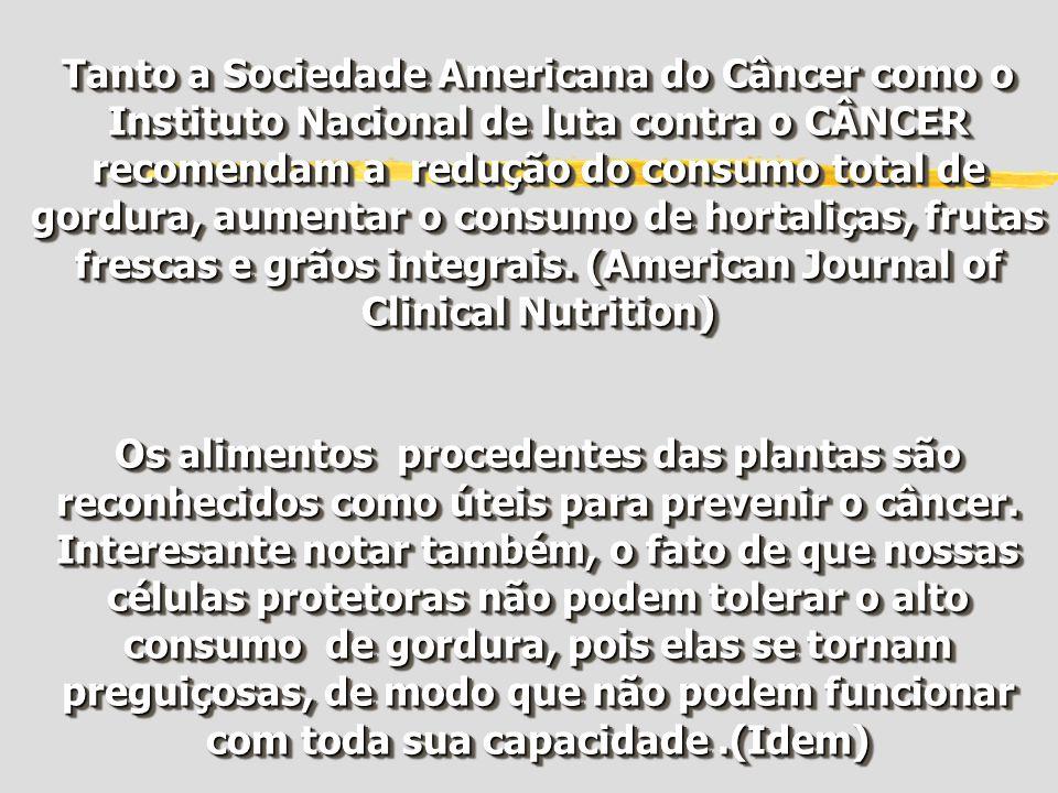 Tanto a Sociedade Americana do Câncer como o Instituto Nacional de luta contra o CÂNCER recomendam a redução do consumo total de gordura, aumentar o c