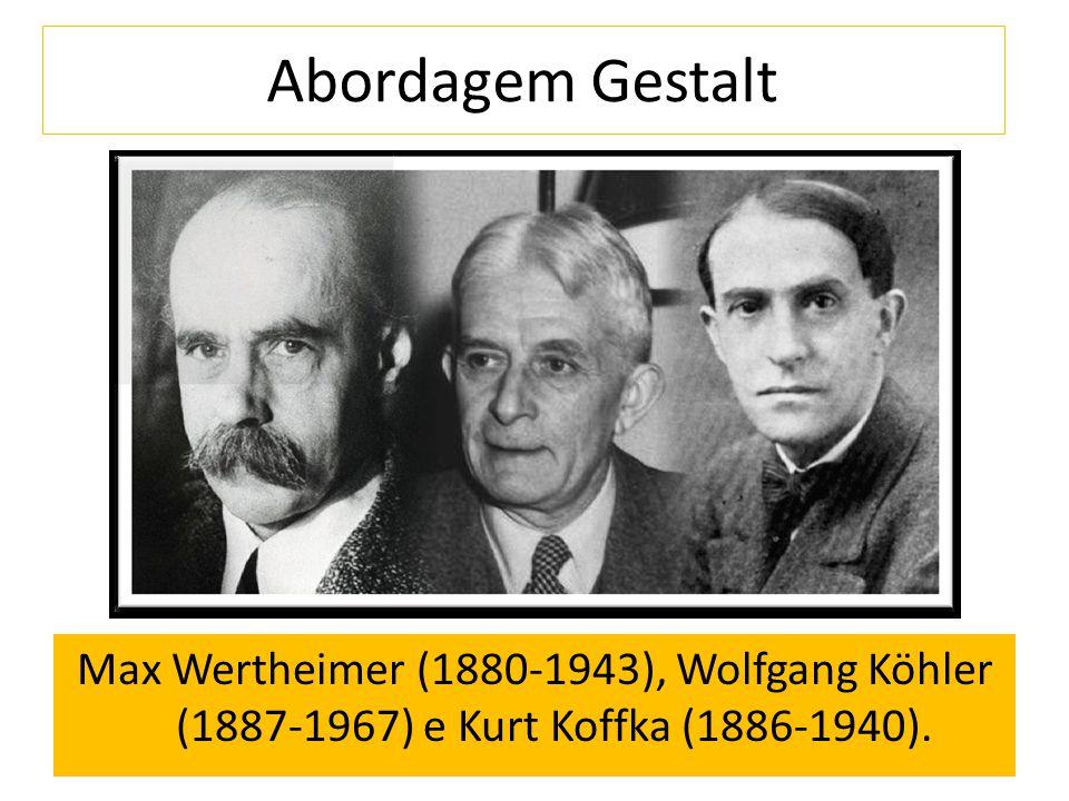 Abordagem Gestalt Max Wertheimer (1880-1943), Wolfgang Köhler (1887-1967) e Kurt Koffka (1886-1940).
