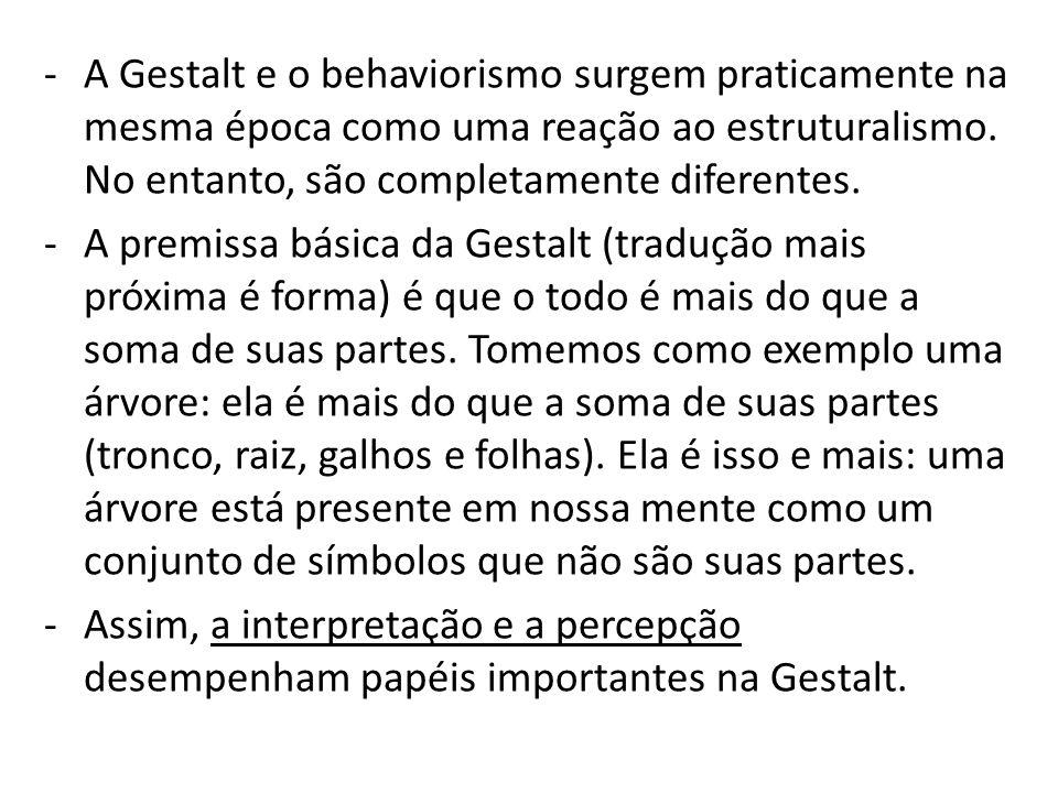 -A Gestalt e o behaviorismo surgem praticamente na mesma época como uma reação ao estruturalismo.