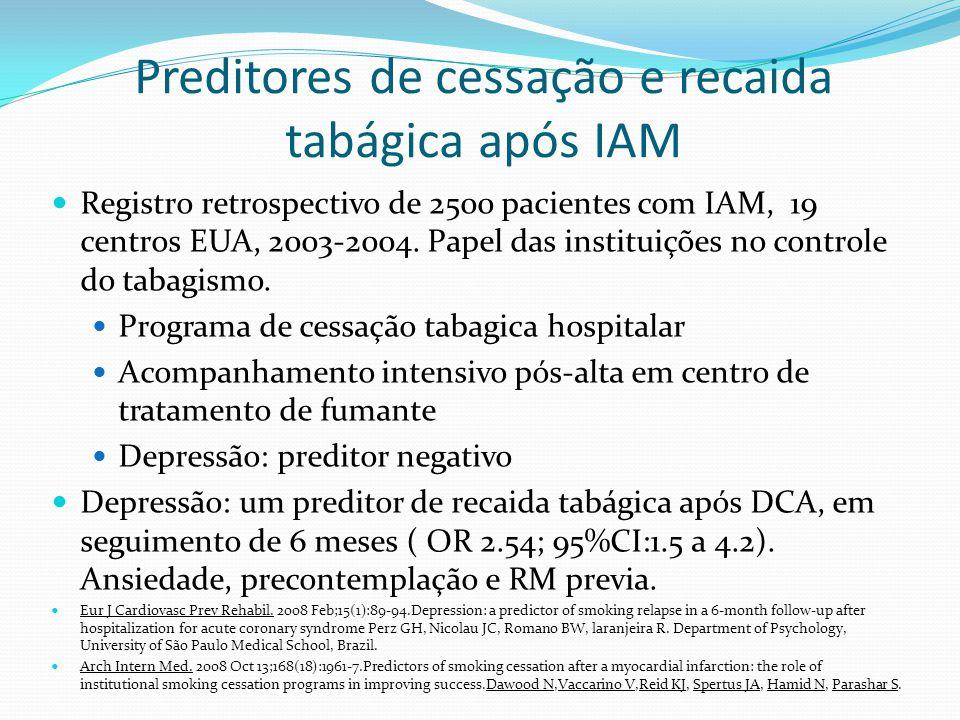 Preditores de cessação e recaida tabágica após IAM Registro retrospectivo de 2500 pacientes com IAM, 19 centros EUA, 2003-2004. Papel das instituições