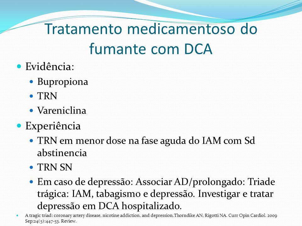 Tratamento medicamentoso do fumante com DCA Evidência: Bupropiona TRN Vareniclina Experiência TRN em menor dose na fase aguda do IAM com Sd abstinenci