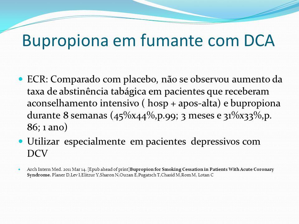 Bupropiona em fumante com DCA ECR: Comparado com placebo, não se observou aumento da taxa de abstinência tabágica em pacientes que receberam aconselha