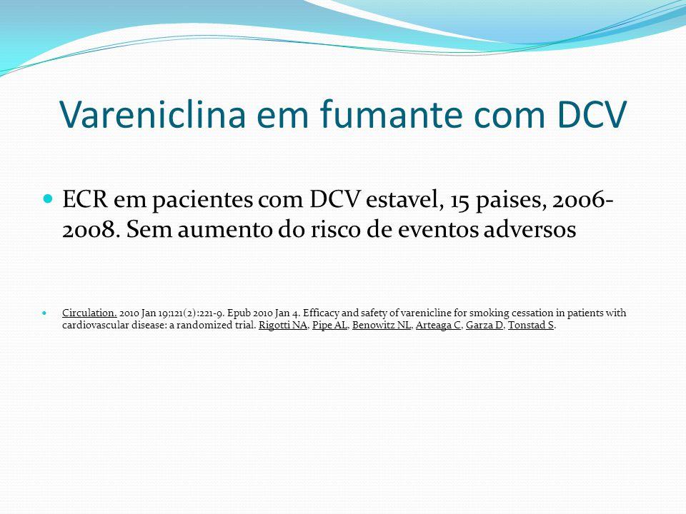 Vareniclina em fumante com DCV ECR em pacientes com DCV estavel, 15 paises, 2006- 2008. Sem aumento do risco de eventos adversos Circulation. 2010 Jan