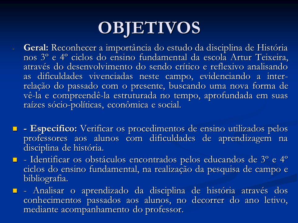 OBJETIVOS - Geral: Reconhecer a importância do estudo da disciplina de História nos 3º e 4º ciclos do ensino fundamental da escola Artur Teixeira, atr