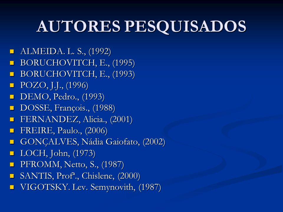 AUTORES PESQUISADOS ALMEIDA. L. S., (1992) ALMEIDA. L. S., (1992) BORUCHOVITCH, E., (1995) BORUCHOVITCH, E., (1995) BORUCHOVITCH, E., (1993) BORUCHOVI