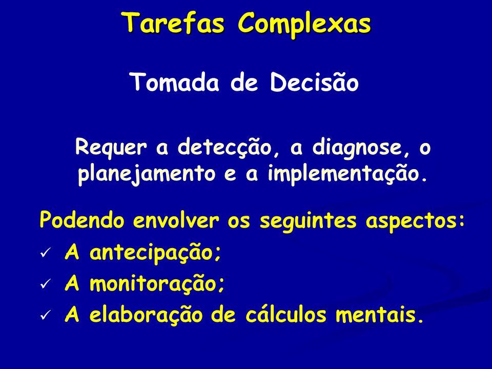 Tarefas Complexas Tomada de Decisão Requer a detecção, a diagnose, o planejamento e a implementação.