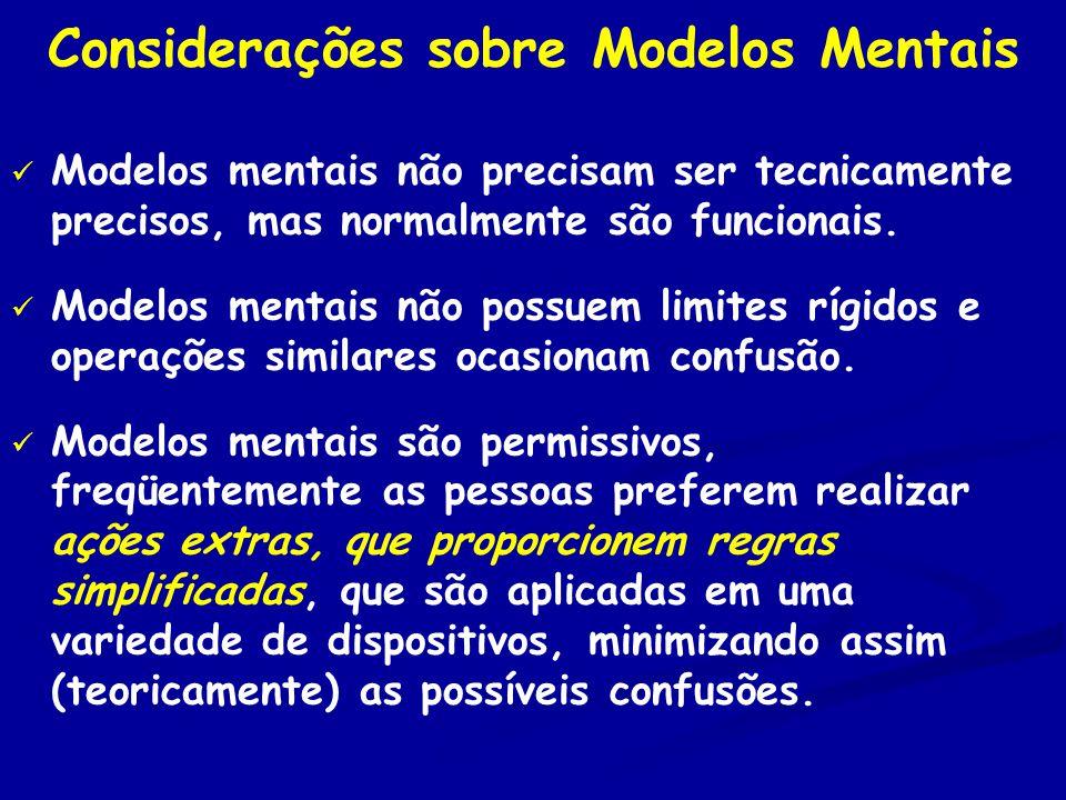 Considerações sobre Modelos Mentais Modelos mentais não precisam ser tecnicamente precisos, mas normalmente são funcionais.