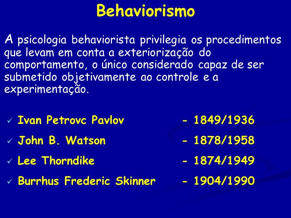 Behaviorismo A psicologia behaviorista privilegia os procedimentos que levam em conta a exteriorização do comportamento, o único considerado capaz de ser submetido objetivamente ao controle e a experimentação.