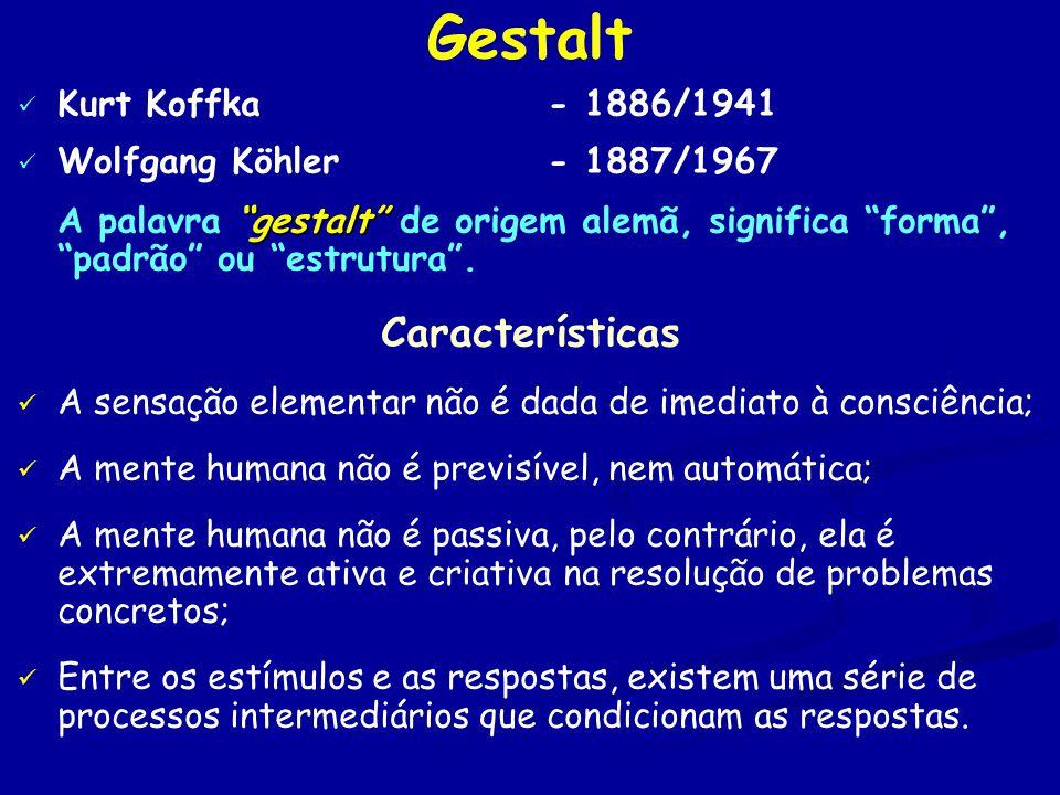 Gestalt Kurt Koffka- 1886/1941 Wolfgang Köhler- 1887/1967 gestalt A palavra gestalt de origem alemã, significa forma , padrão ou estrutura .